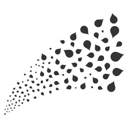 Drop source stream. Vector illustration style is flat gray iconic symbols on a white background. Object fireworks fountain constructed from scattered symbols. Иллюстрация