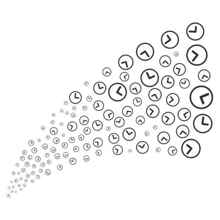 Clock source stream. Vector illustration style is flat gray iconic symbols on a white background. Object source fountain constructed from scattered icons.