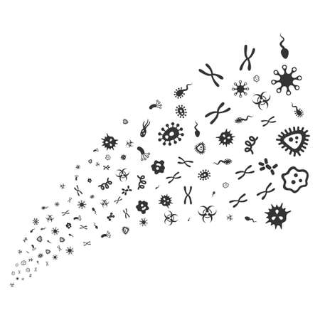 Microbes source stream. Vector illustration style is flat gray iconic symbols on a white background. Object stream fountain done from random pictographs.