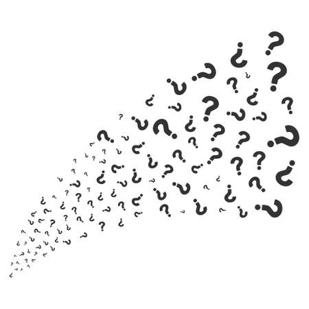 Question source stream. Vector illustration style is flat gray iconic symbols on a white background. Object explosion fountain made from random symbols.