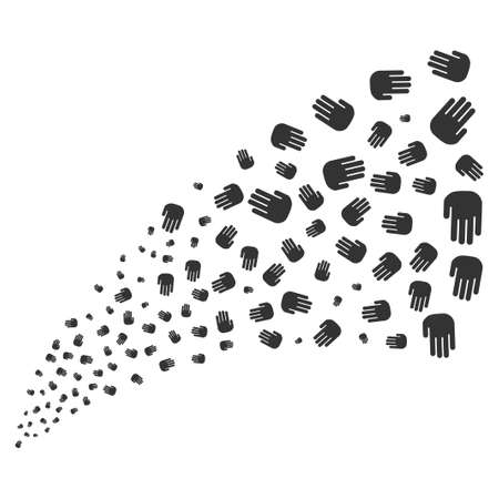 Stop Hand source stream. Vector illustration style is flat gray iconic symbols on a white background. Object fireworks fountain created from randomized pictographs.