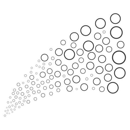 Circle Bubble source stream. Raster illustration style is flat gray iconic symbols on a white background. Object stream fountain done from randomized symbols.