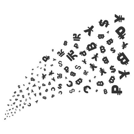 Currency Symbols source stream. Raster illustration style is flat gray iconic symbols on a white background. Object fireworks fountain made from randomized design elements.