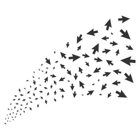 Cursor Arrow source stream. Raster illustration style is flat gray iconic symbols on a white background. Object stream fountain combined from random pictograms. Stock Photo