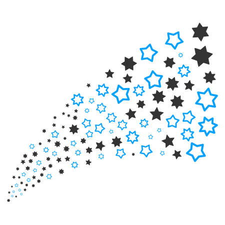 Decoration Stars source stream. Raster illustration style is flat gray iconic symbols on a white background. Object stream fountain constructed from random pictographs.