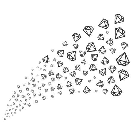ruby: Diamond source stream. Raster illustration style is flat gray iconic symbols on a white background. Object fireworks fountain organized from randomized pictograms.