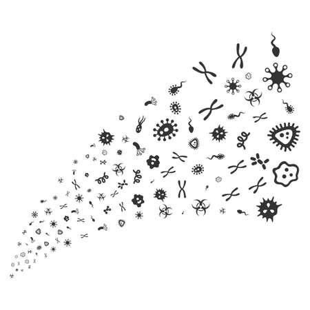 ameba: Flujo de fuente de microbios. El estilo de ilustración de trama es símbolos icónicos grises planas sobre un fondo blanco. Fuente de fuegos artificiales objeto organizada a partir de símbolos aleatorios.