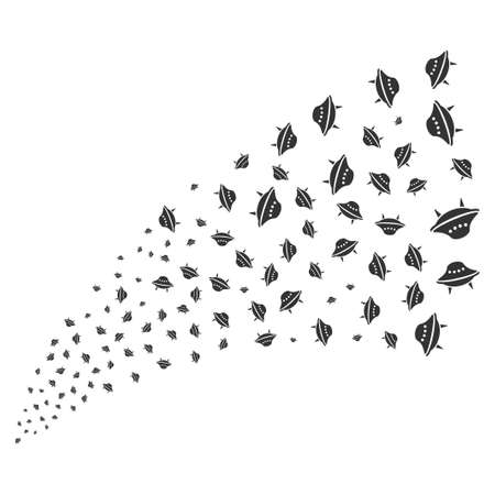 Space Ship source stream. Raster illustration style is flat gray iconic symbols on a white background. Object explosion fountain organized from scattered symbols.