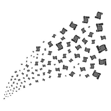 Script Roll source stream. Raster illustration style is flat gray iconic symbols on a white background. Object fireworks fountain constructed from scattered pictograms.