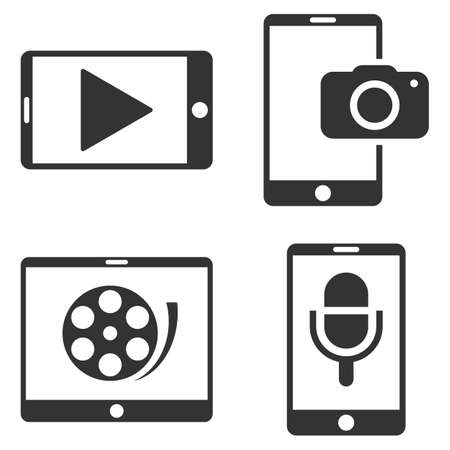 touchpad: Mobile Multimedia vector icon set. Collection style is gray flat symbols on a white background. Illustration