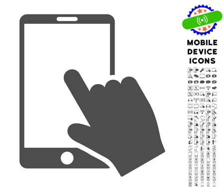touchpad: Touch Smartphone icon with digital glyph clip art. Vector illustration style is a flat iconic symbol, gray colors. Designed for web and software interfaces.