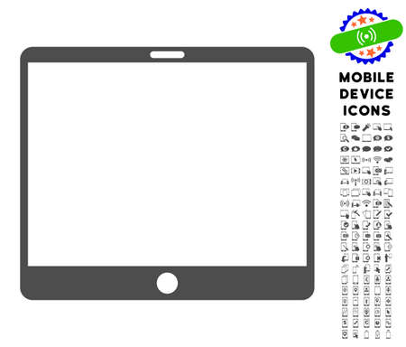 touchpad: Mobile Tablet icon with digital icon pack. Vector illustration style is a flat iconic symbol, gray colors. Designed for web and software interfaces. Illustration