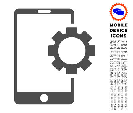 Phone Setup Gear icon with smartphone pictogram collection. Vector illustration style is a flat iconic symbol, gray colors. Designed for web and software interfaces. Illustration