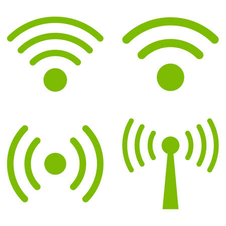 Wi-Fi Signal vector icon set. Collection style is eco green flat symbols on a white background.