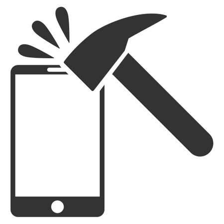 Hammer Break Smartphone vector icon. Flat gray symbol. Pictogram is isolated on a white background. Designed for web and software interfaces.