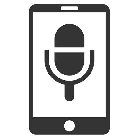 touchpad: Phone Microphone vector icon. Flat gray symbol. Pictogram is isolated on a white background. Designed for web and software interfaces.