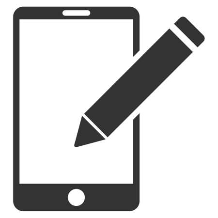 autograph: Smartphone Edit Pencil vector icon. Flat gray symbol. Pictogram is isolated on a white background. Designed for web and software interfaces.
