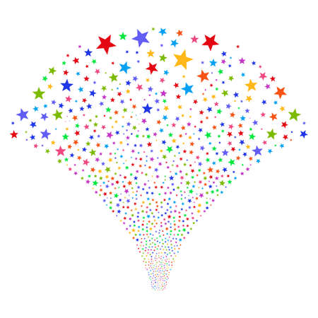 Fireworks Star salute stream. Raster illustration style is flat bright multicolored iconic symbols on a white background. Object fireworks fountain created from random design elements.