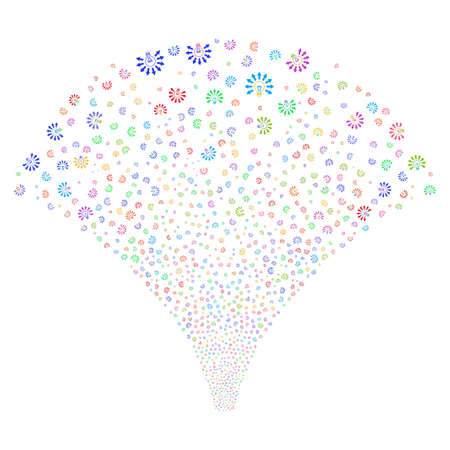 raster: Light Bulb salute stream. Raster illustration style is flat bright multicolored iconic symbols on a white background. Object fireworks fountain made from random pictographs.