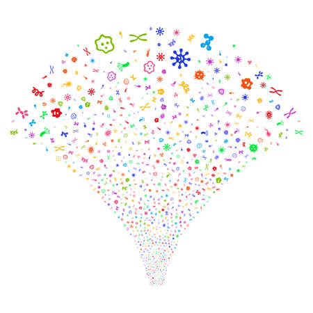 Microbes salute stream. Raster illustration style is flat bright multicolored iconic symbols on a white background. Object stream fountain done from random icons. Stock Photo