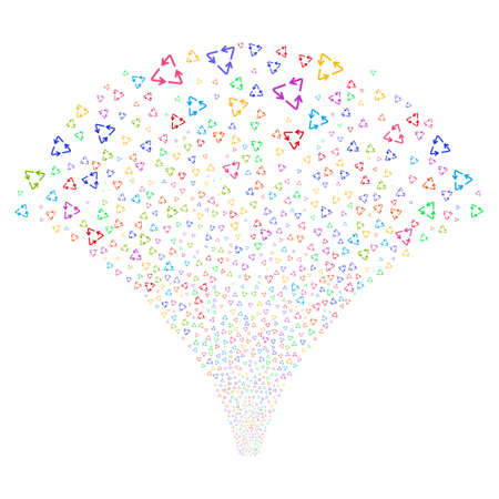 Recycle Triangle salute stream. Raster illustration style is flat bright multicolored iconic symbols on a white background. Object explosion fountain organized from random pictographs.