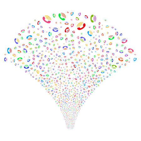 Ring salute stream. Raster illustration style is flat bright multicolored iconic symbols on a white background. Object stream fountain organized from random pictograms.