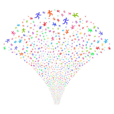 Running Man salute stream. Raster illustration style is flat bright multicolored iconic symbols on a white background. Object fireworks fountain done from random pictograms.