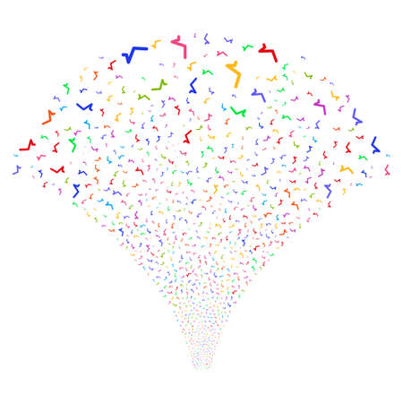 Sqrt salute stream. Raster illustration style is flat bright multicolored iconic symbols on a white background. Object fireworks fountain made from random pictographs.