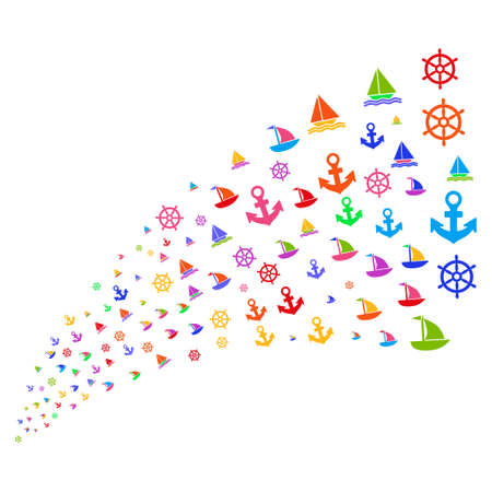 wheel of fortune: Stream of boat sailing symbols. Vector illustration style is flat bright multicolored iconic boat sailing symbols on a white background. Object fountain created from symbols.