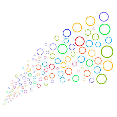 nuclear bomb: Source stream of circle bubble icons. Vector illustration style is flat bright multicolored iconic circle bubble symbols on a white background. Object fountain done from pictographs.