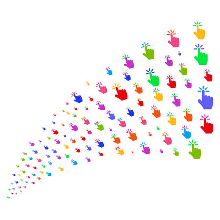 Source stream of click symbols. Vector illustration style is flat bright multicolored iconic click symbols on a white background. Object fountain created from design elements.