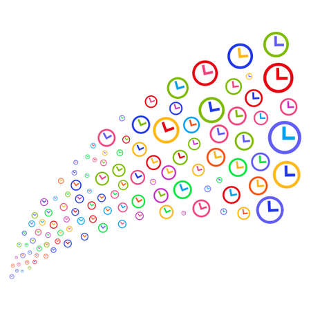 Source stream of clock symbols. Vector illustration style is flat bright multicolored iconic clock symbols on a white background. Object fountain organized from pictographs.