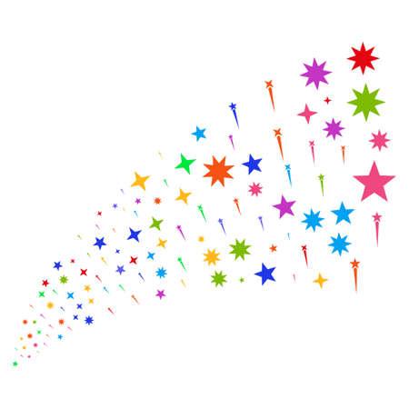 Source stream of confetti stars symbols. Vector illustration style is flat bright multicolored iconic confetti stars symbols on a white background. Object fountain organized from design elements. Illustration