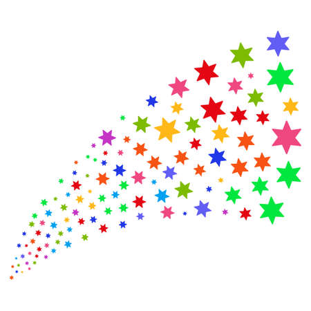 Source stream of fireworks star icons. Vector illustration style is flat bright multicolored iconic fireworks star symbols on a white background. Object fountain constructed from icons. Illustration