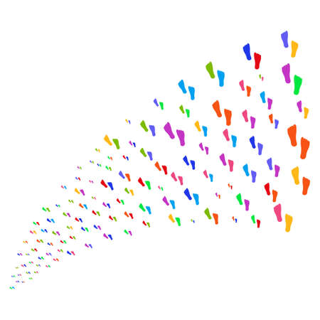 Source stream of human footprints symbols. Vector illustration style is flat bright multicolored iconic human footprints symbols on a white background. Object fountain organized from pictographs.