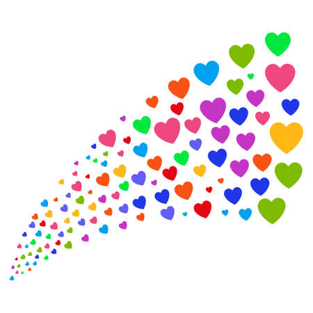 Source stream of love heart icons. Vector illustration style is flat bright multicolored iconic love heart symbols on a white background. Object fountain done from pictographs.