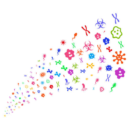 ameba: Source of microbes icons. Vector illustration style is flat bright multicolored iconic microbes symbols on a white background. Object fountain done from pictograms. Vectores