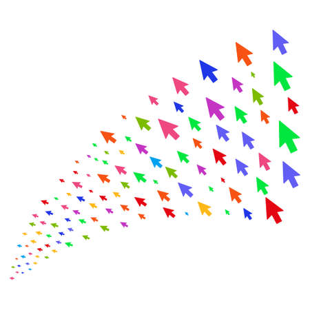 winning location: Source of mouse cursor symbols. Vector illustration style is flat bright multicolored iconic mouse cursor symbols on a white background. Object fountain organized from icons. Illustration