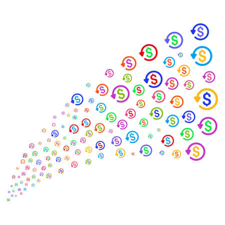 Stream of refund symbols. Vector illustration style is flat bright multicolored iconic refund symbols on a white background. Object fountain organized from pictograms.