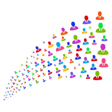 he is beautiful: Stream of manager symbols. Vector illustration style is flat bright multicolored iconic manager symbols on a white background. Object fountain done from icons.