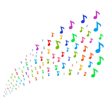 Stream Of Musical Note Symbols Vector Illustration Style Is