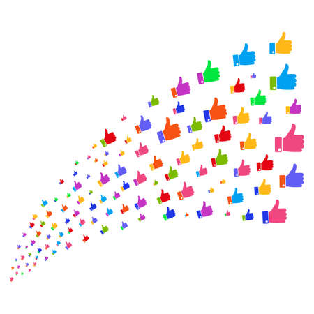 Stream of thumb up symbols. Vector illustration style is flat bright multicolored iconic thumb up symbols on a white background. Object fountain combined from symbols.