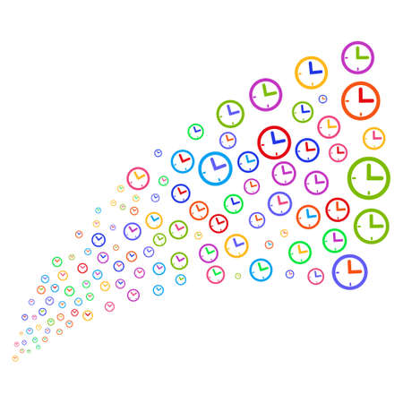 Stream of time symbols. Vector illustration style is flat bright multicolored iconic time symbols on a white background. Object fountain organized from icons. Illustration