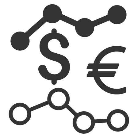通貨チャートはベクトル アイコンです。フラット グレーのシンボル。ピクトグラムは、白い背景に分離されます。Web とソフトウェアのインタ フェ  イラスト・ベクター素材