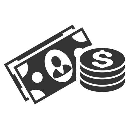Money Cash vector icon. Flat gray symbol. Pictogram is isolated on a white background. Designed for web and software interfaces.