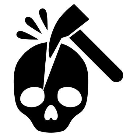 blasphemy: Break Skull raster icon. Flat black symbol. Pictogram is isolated on a white background. Designed for web and software interfaces. Stock Photo