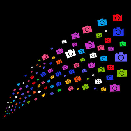 Stream of camera icons. Raster illustration style is flat bright multicolored iconic camera symbols on a black background. Object fountain made from pictograms.