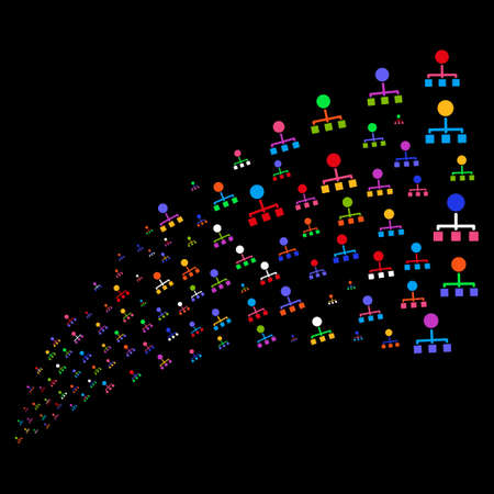 Source stream of hierarchy icons. Raster illustration style is flat bright multicolored iconic hierarchy symbols on a black background. Object fountain created from pictographs. Stock Photo