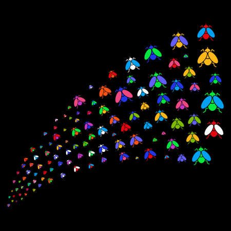 Stream of fly insect symbols. Raster illustration style is flat bright multicolored iconic fly insect symbols on a black background. Object fountain constructed from design elements.
