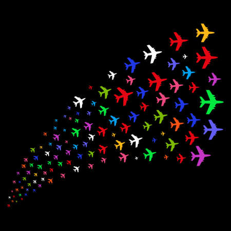 Source stream of jet plane icons. Raster illustration style is flat bright multicolored iconic jet plane symbols on a black background. Object fountain combined from design elements.